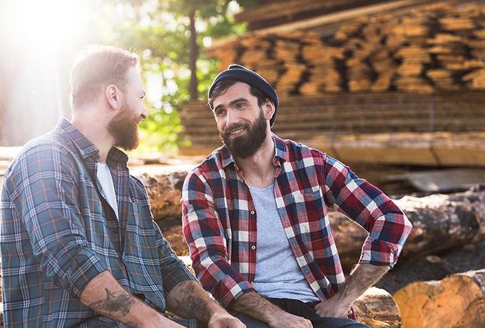 Men sat talking about suicide